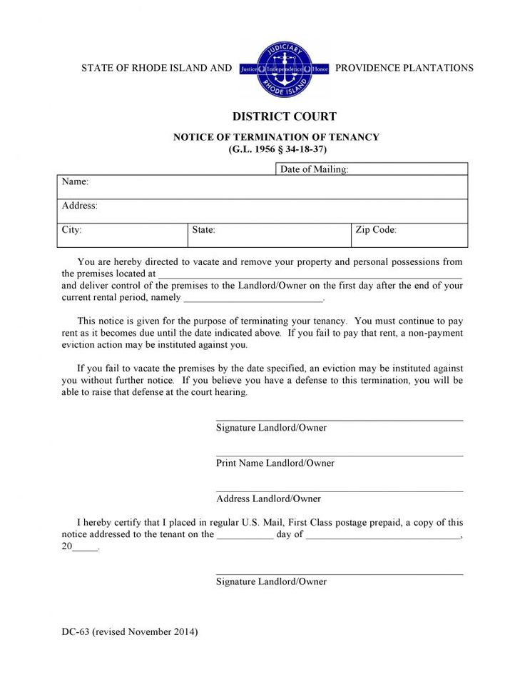 Rhode Island Notice of Termination of Tenancy #EvictionForms