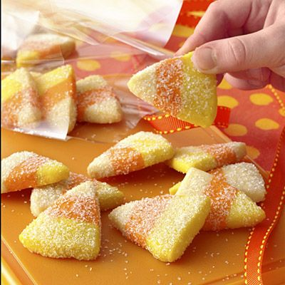 Cute candy corn sugar cookies, sparkly