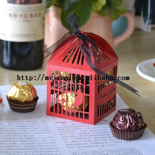 Carta amore uccelli gabbia rossa wedding candy bar scatole per gli ospiti, regalo di nozze porta in cina