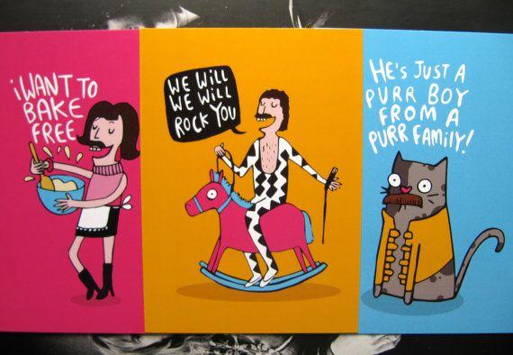 Freddie Mercury Puns - Queen - Mercury Phoenix Trust - Illustrated Postcard Pack