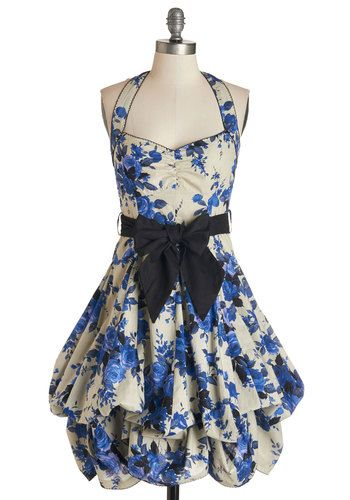 Indigo Gardens Dress. Style stems from this voluminous, halter-necked frock.  #modcloth