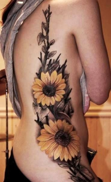 Sunflower tattoos up side