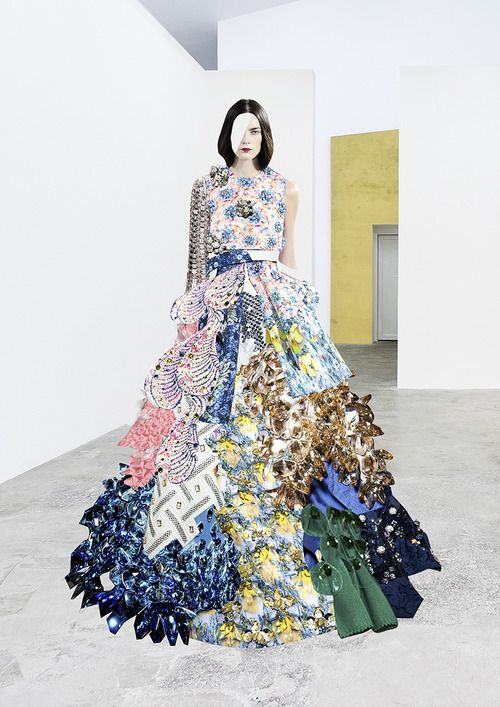 Ernesto Artillo  Collage dress created from SWAROVSKI's fashion collabs for SALT magazine