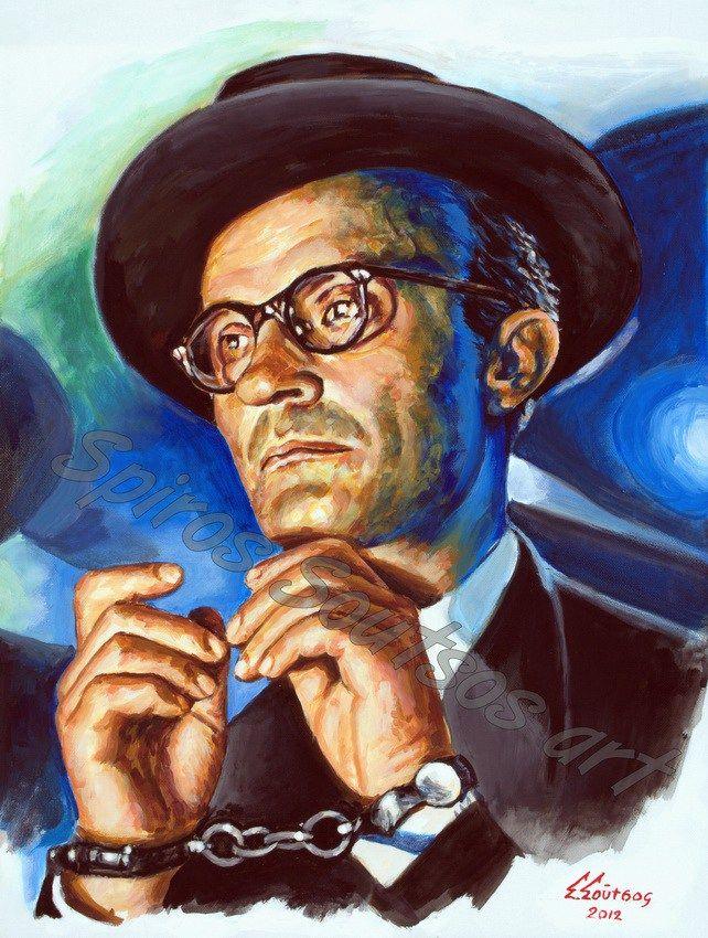 Ο Δράκος (1956), Νίκος Κούνδουρος, Ντίνος Ηλιόπουλος πορτραίτο, αφίσα, αυθεντικός πίνακας ζωγραφικής