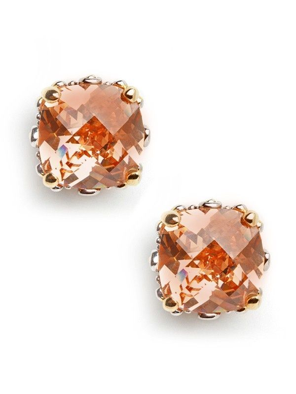 Peach colored stud earrings: Baubles Bar, Cushions Cut, Studs Earrings, Jewelry, Peaches Cushions, Cut Studs, Accessories, Peaches Studs, Cushion Cut