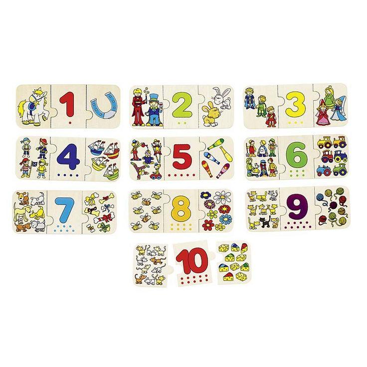 Goki, Trójelementowe puzzle z cyframi, 30 elementów