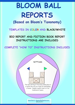Updated version of Bloom Ball reports! Fun, colorful hands on projects.Templates in two sizes and in color and black/white. Two student report forms included. Fiction book report and Bio report. Can be used for any subject. Middle and high school teachers use them too!  Complete instructions are included. Promotes higher level thinking skills!  priced item