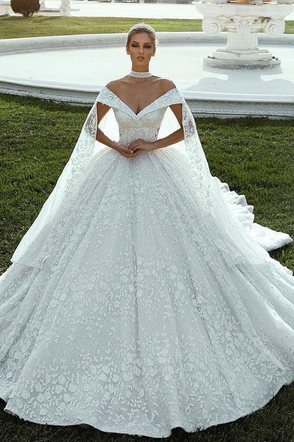 235 20 Splendid Lace Off The Shoulder Neckline Ball Gown Wedding
