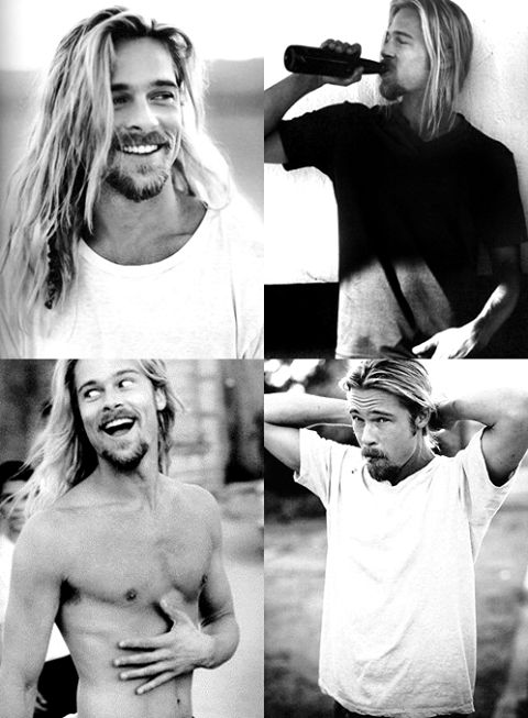Brad pitt long hair and beard, love it!