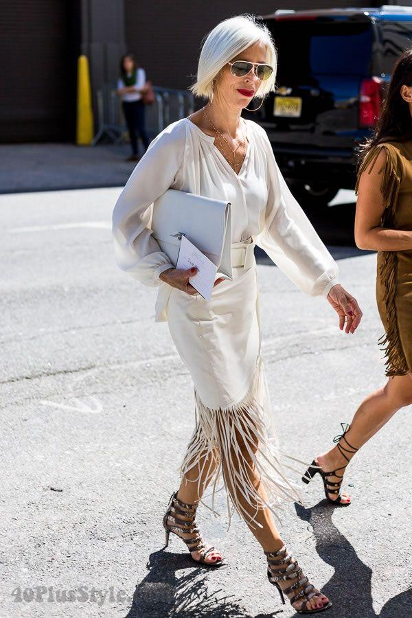 Post image for Linda Fargo wearing fringe at New York ...