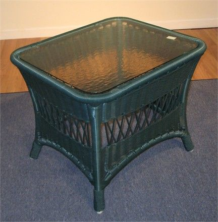 Lane Venture Green Vinyl End Table With Glass Top #wicker #sale #closeout  Http Part 88