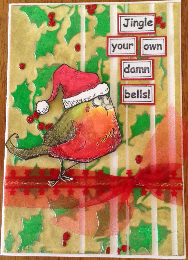 Made by Gail. Background was made using Tim Holtz Stencil, gelatos and Impasto Gel. Crazy bird stamp is from Tim Holtz. Bird was stamped on gessoed card stock and coloured with Faber Castello Big Brush Markers. Sentiment is from Stampotique.