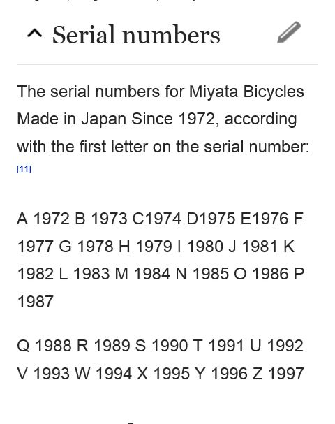 Image result for miyata serial numbers