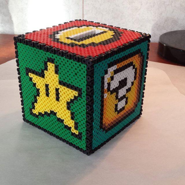 Super Mario coin box perler beads by shawnawhite18