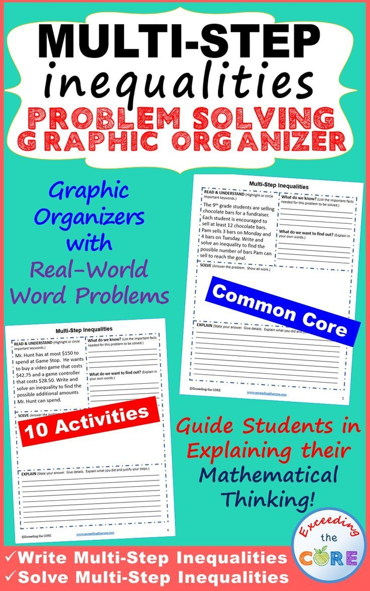 Multi Step Inequalities Word Problems With Problem Solving Graphic Organizers Problem Solving G Inequality Word Problems Word Problems Multi Step Inequalities