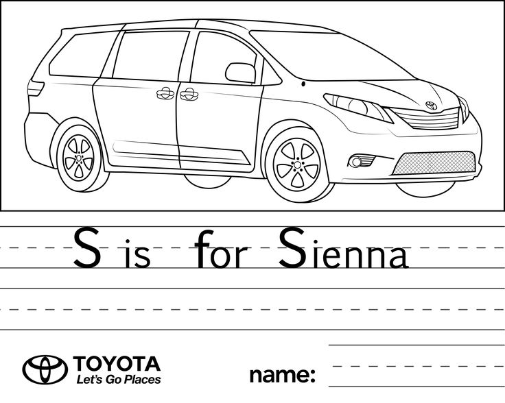 Toyota coloring pages to print ~ 1000+ images about Toyota for Kids on Pinterest | Toyota ...