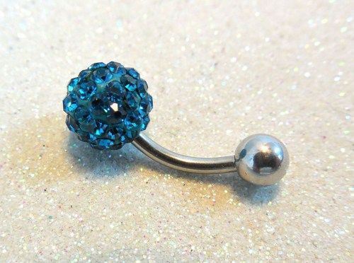 Belly piercing ring, belly button ring w blue zircon crystal ball 14ga | YOUniqueDZigns - Jewelry on ArtFire