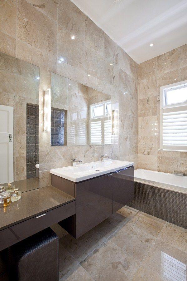 elegant modern bathroom natural tiles