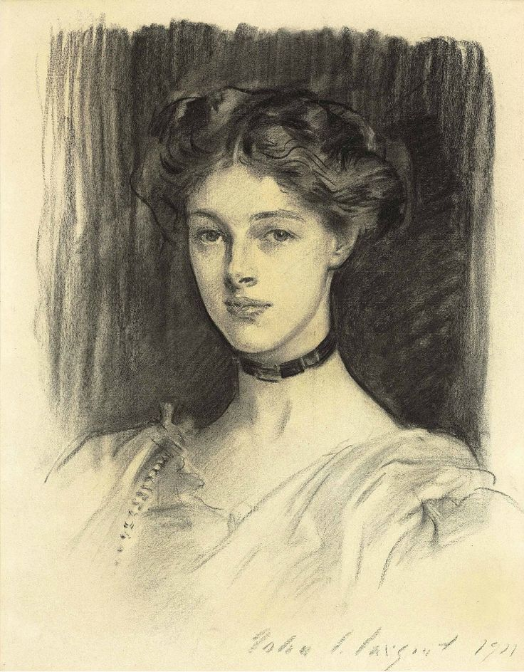 John Singer Sargent Portrait of Eva Katherine Balfour, Later Lady Buxton (1911) black chalk on paper (?) 23¾ X 19 in.