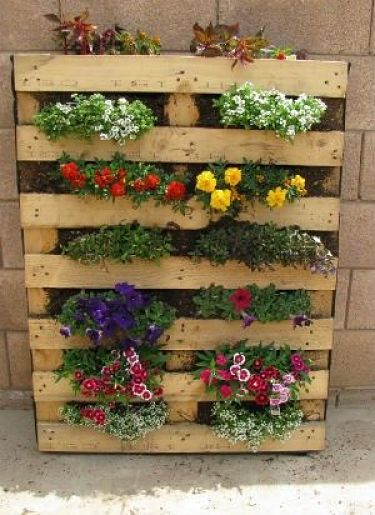 Mural vertical para flores con palets