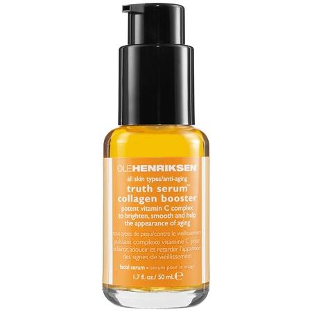 Ole Henriksen Truth Serum collagen booster Un suero que previene y corrige los signos de la edad, dejándote una piel iluminada gracias a la vitamina C.