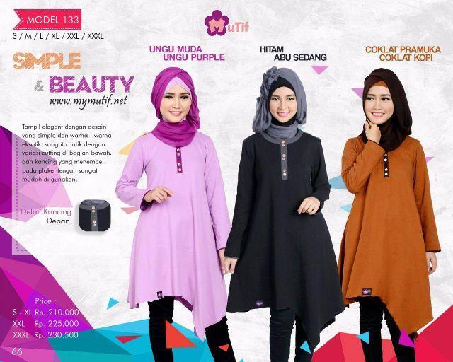 Tunik Mutif Model 133, tampil elegan dengan desain yang simple dan warna-warna eksotik yang begitu menawan. Busana Muslim yang sangat cantik dengan variasi c...