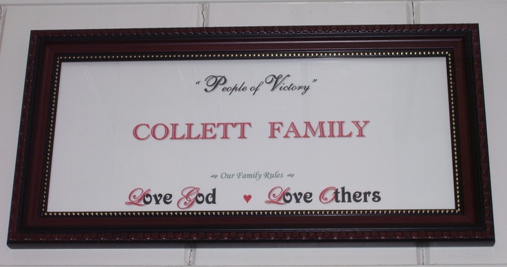 "Homemade name meaning sign with ""family rules"":  Love God.  Love others.   Katie Beth Collett"