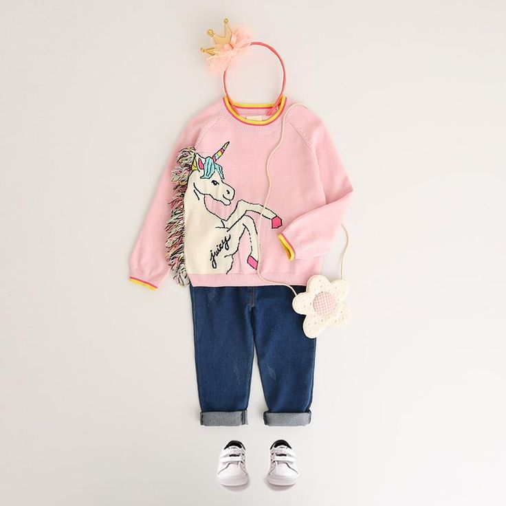 Unicorn Long Sleeve Outerwear O-neck Kids Knitwear