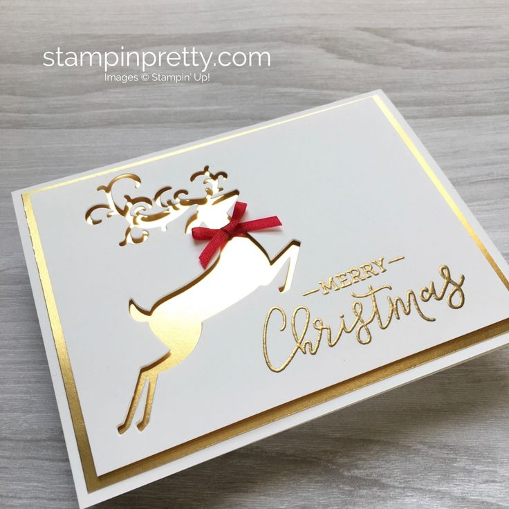 Create a simple Christmas card using Stampin Up Warm Hearted & Detailed Deer Fra…