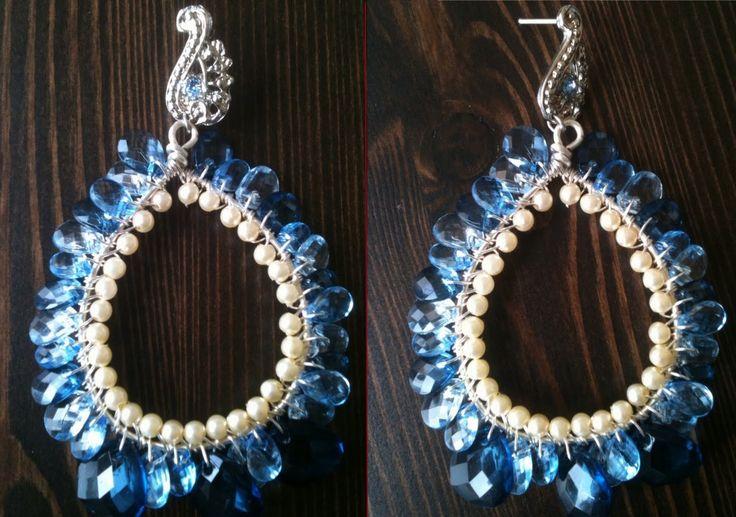 Brincos de argola de fio folheado em prata - passo a passo de bijuterias. Passo a passo de brincos de argola com gotas azuis.