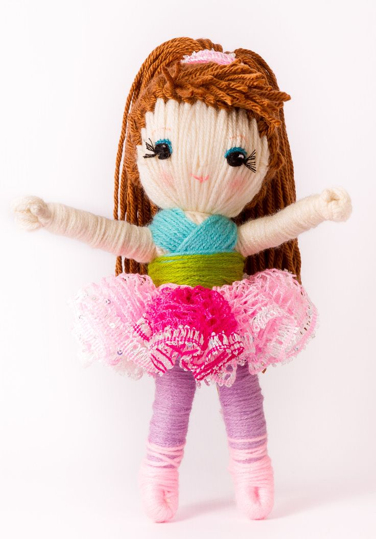 "Cute yarn doll ""Sugar Plum Fairy"" from ""Yarn Whirled: Fairy Tales, Fables, and Folklore""."