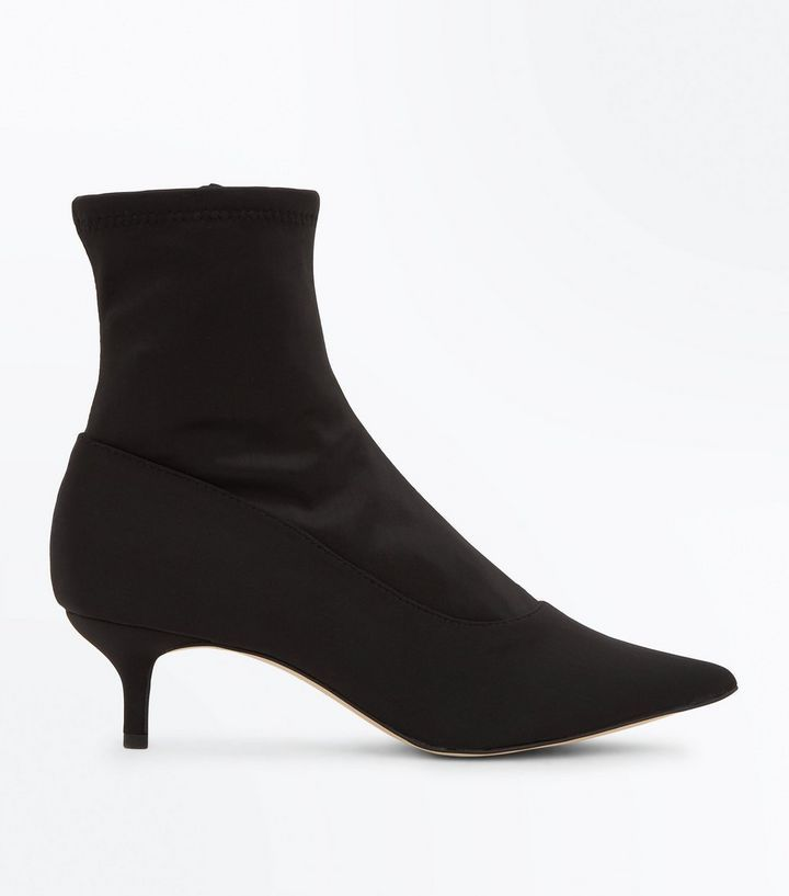 Black Satin Kitten Heel Sock Boots New Look Socks And Heels Heels Black Sock Boots