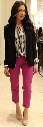 Outfit Posts: outfit post: black blazer, polkadot blouse, purple cropped pant