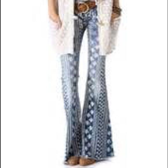 NEW WITH TAGS free people Bali print flare jeansNWT | Free People ...