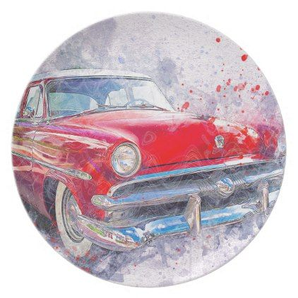 Car Old Car Abstract Watercolor Vintage Classic Plate - classic gifts gift ideas diy custom unique
