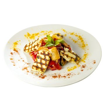 Halloumi salad, a famous #Nammos recipe made exclusively with Olea Juice extra virgin olive oil!!