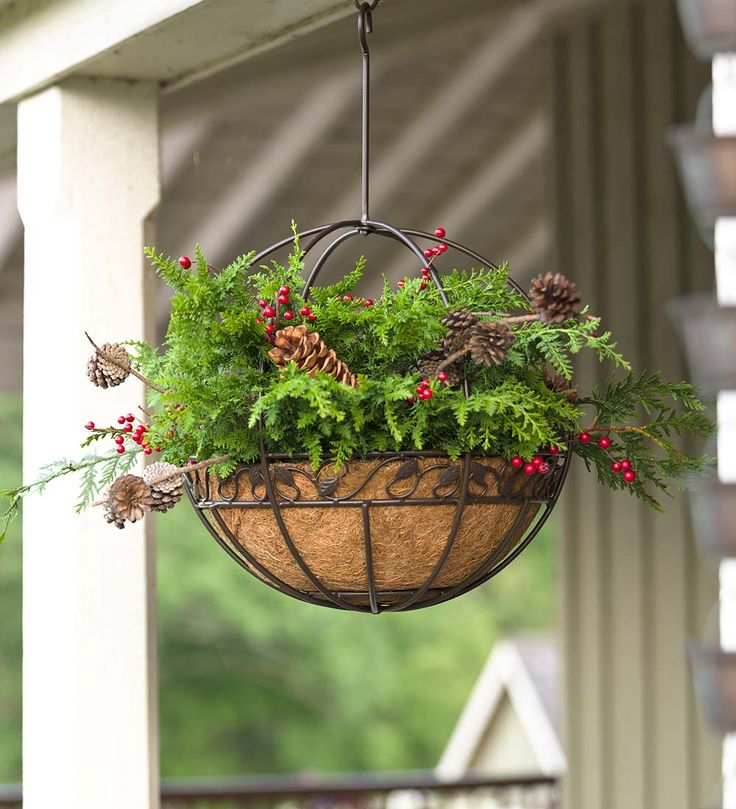 Metal hanging round planter deck easy outdoor for Circular garden decking