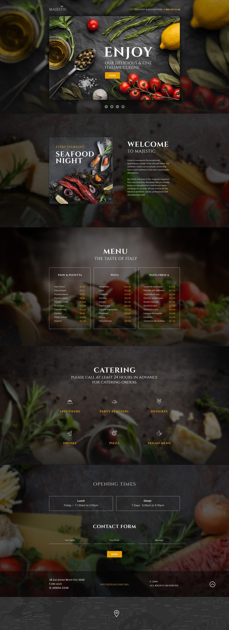 Download our Italian Restaurant Responsive Landing Page Template. Creative design and parallax animation make a visitor focus on divine pictures of food and almost feel their smell. The design is responsive, so all the awesome photos will look sharp on every device a client would like to use. #italianrestaurantwebsite #italianrestaurantwebsitedesign   https://www.templatemonster.com/landing-page-template/italian-restaurant-responsive-landing-page-template-58460.html