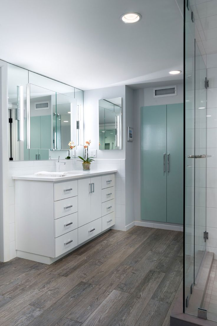 modern bathroom update with porcelain wood tiles, An Inviting Home ...