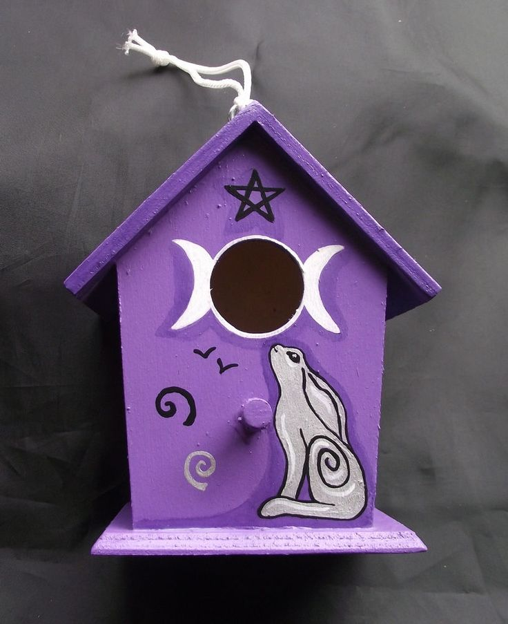 Witches Garden Spring Hare HANGING DECORATIVE BIRD HOUSE. Pagan Witch Wicca  Fae Ostara Craft
