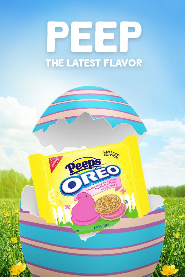 Say hello to the newest Oreo flavor! Marshmallow Peeps flavored Oreo cookies. Available in stores now.