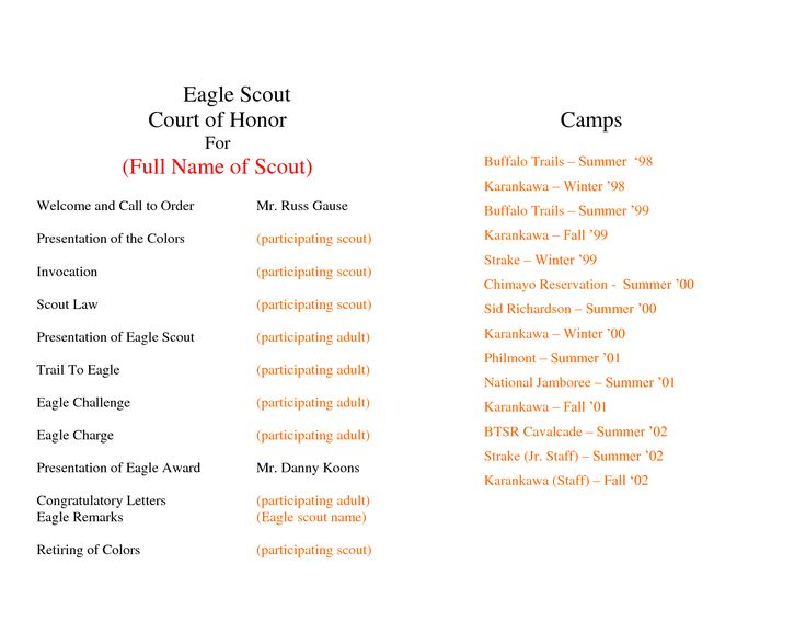 eagle scout court of honor program template - program template eagles and templates on pinterest