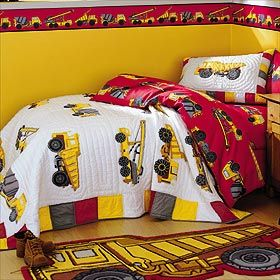 Cute construction bedroom set!  Need to find this one fort son