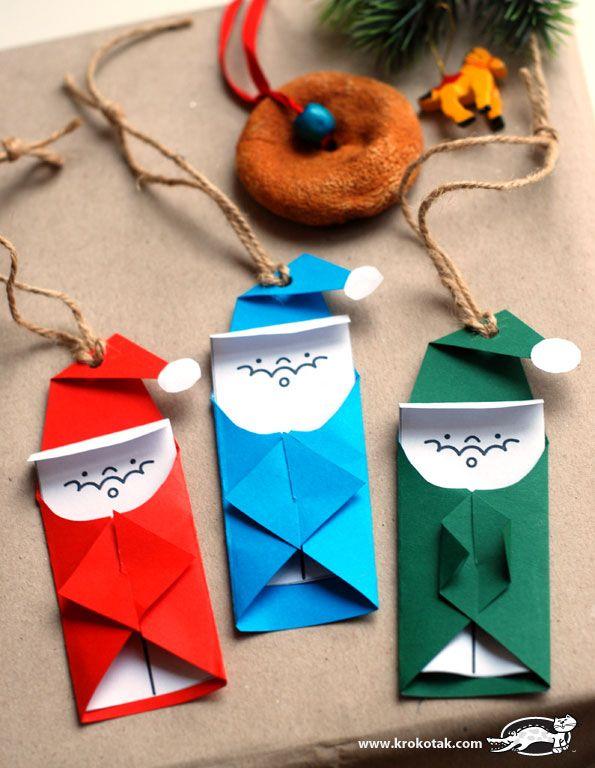 Un pliage simple pour faire des pères Noël en papier
