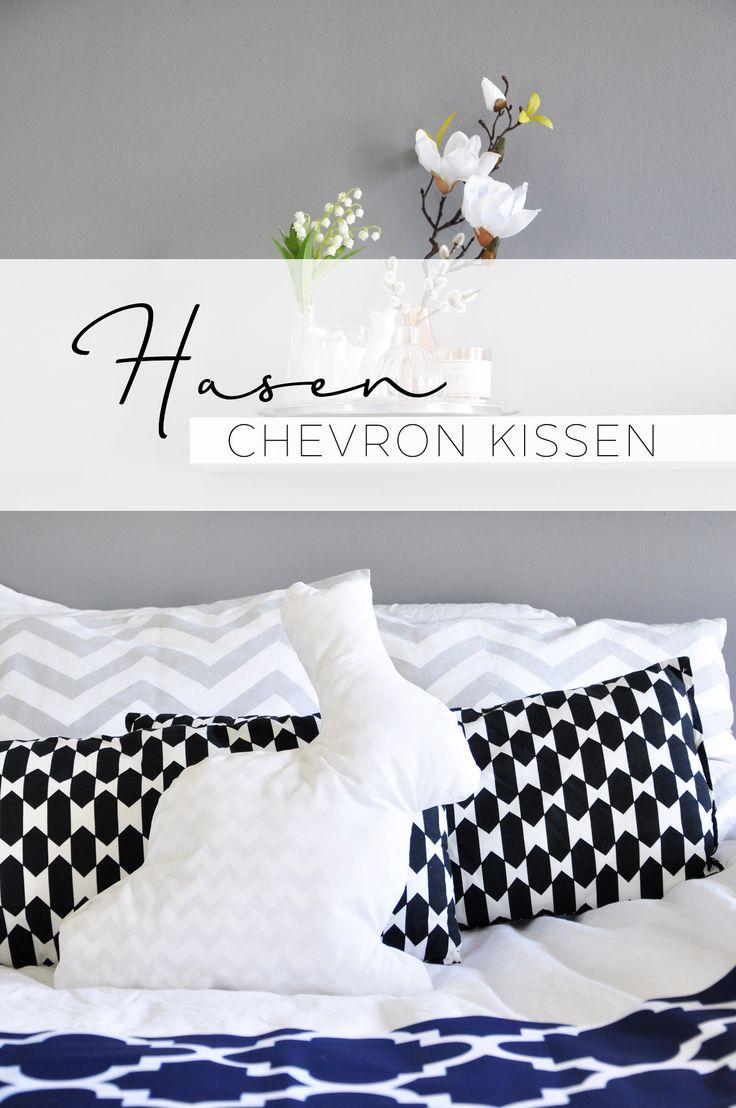 DIY Hasen Chevron Kissen Nähanleitung - www.mymirrorworld.com