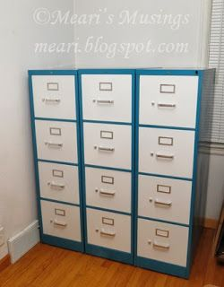 Meari's Musings: DIY Filing Cabinet Makeover-one pinner said:you don't have to have boring filing cabinets!  check out this two-toned look!