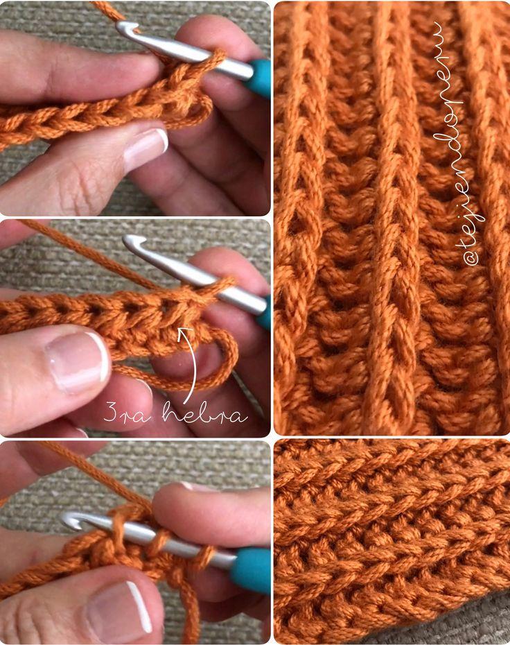 Crochet: punto acanalado con media varetas!  Ribbed half double crochet reversible stitch! Con una pequeña variación se logra un bello punto elástico y reversible!