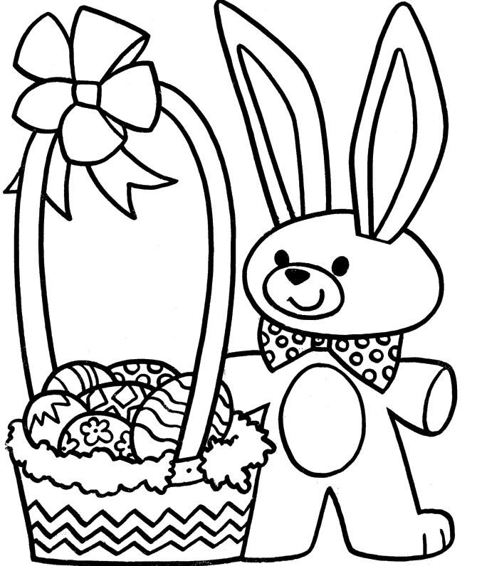 Easter Bunny and Eggs Coloring Pages for Kids, Childrens