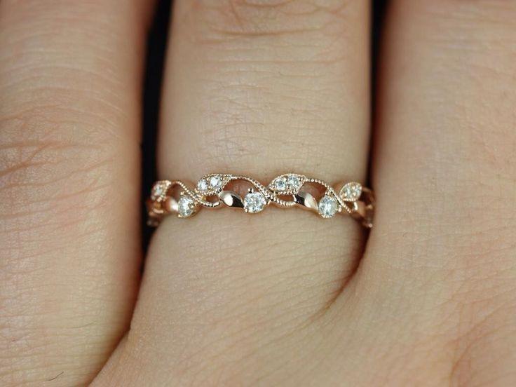 Daphine 14kt Rose Gold Thin Weaving Leaves Diamonds Berries Halfway Eternity Ban…