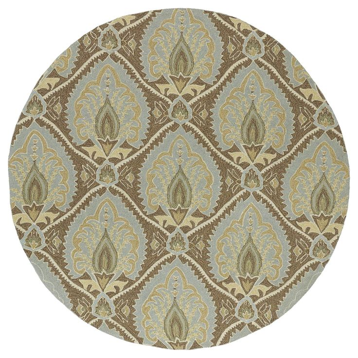 Bombay Home Fiesta Brown Indoor/ Outdoor Damask Rug (7'9 Round) - 7'9 (7'9 x 7'9 Round) (Synthetic, Floral)